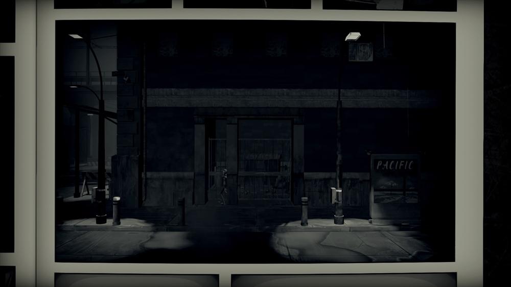 アクションパートでも背景等の描き込みはしっかりしている。また、モノクロによる表現はディストピアを想起させる