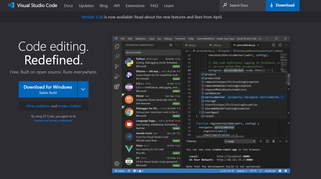 JavaScriptやPythonのコーディングでよく使われるエディタ「Visual Studio Code」(開発:Microsoft)。スクリプト言語のプログラミングは基本的にテキストを羅列していくスタイルなので初心者からするとかなり難解