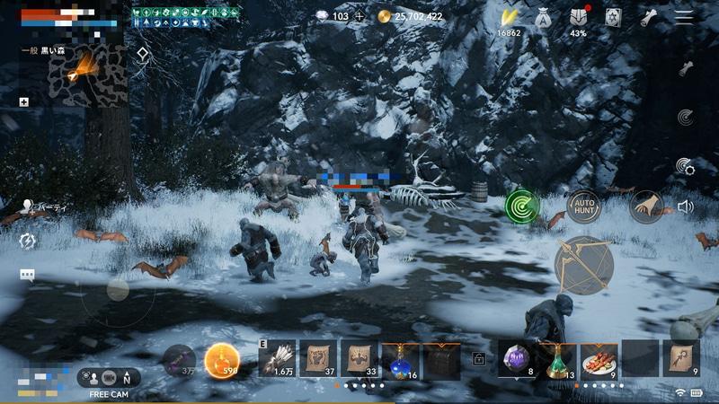 「山賊の巣窟」や「黒い森」といったエリアには雪が積もっている。狩場の難易度的にはかなり高い印象で、キャラクターをかなり強化する必要があるだろう