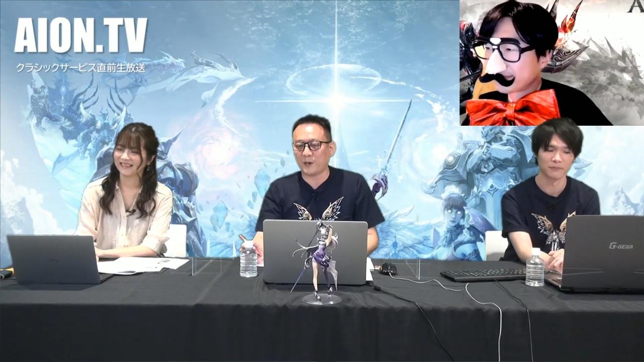 左からMCの明坂聡美さん、「タワー オブ アイオン」プロデューサーのサカモト氏、アシスタントのコバヤシ氏。サプライズゲストとしてMCタナベ氏も出演!