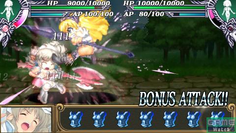 ボーナスアタックが可能であれば、「ATTACK CHANCE!!」の文字と共に入力キーが表示される。方向キーの右を入力することで追加攻撃となり、エリナの「呪怨の爪」が発動する