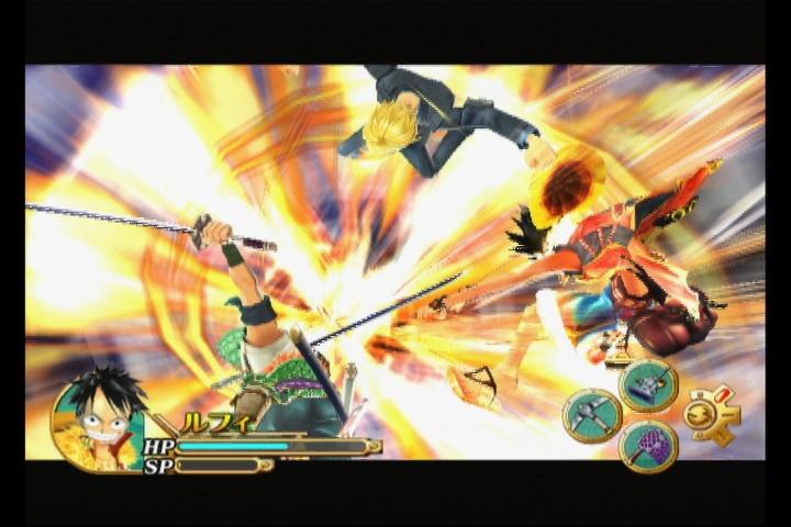 ルフィ/ゾロ/サンジの3人が協力して繰り出す羊肉JET六百煩悩攻城砲。「エピソード2」で、どんな新合体技が追加されたのか探すのも楽しい