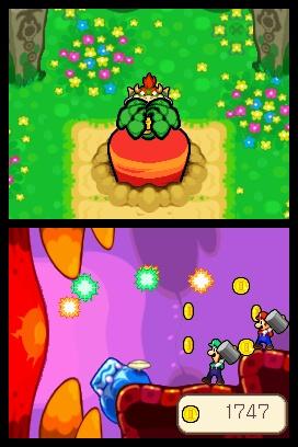 飛んでくる光の球は赤と緑。つまり、マリオが赤い球を、ルイージが緑の球を打ち返すことになる。タイミングが合わないと、光の球を受けてしまい、お金を落としてしまう