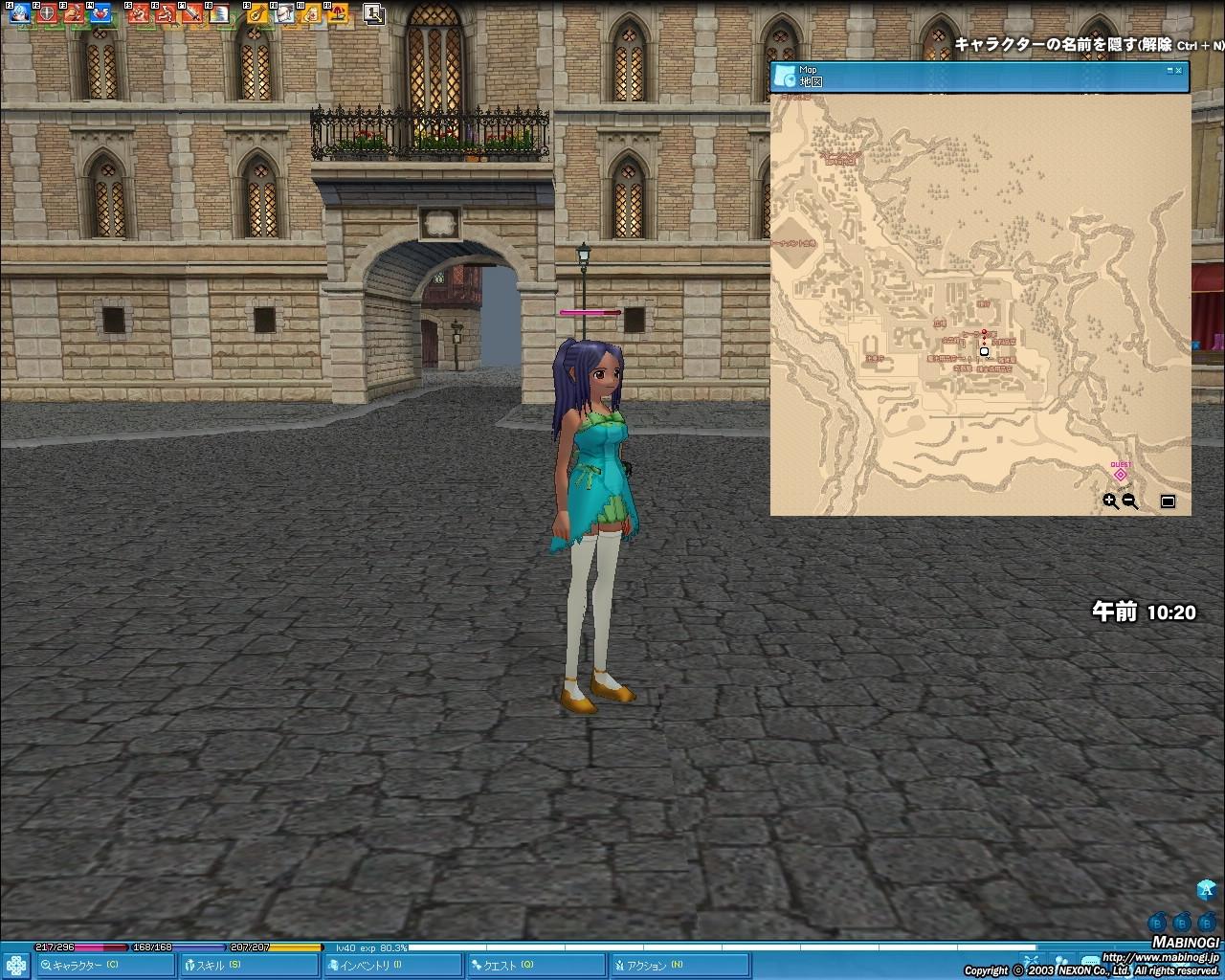 タラの地図。店などが集中して機能的だが、まだ寂しい。地図の北側の部分は今後王城が追加される予定だ
