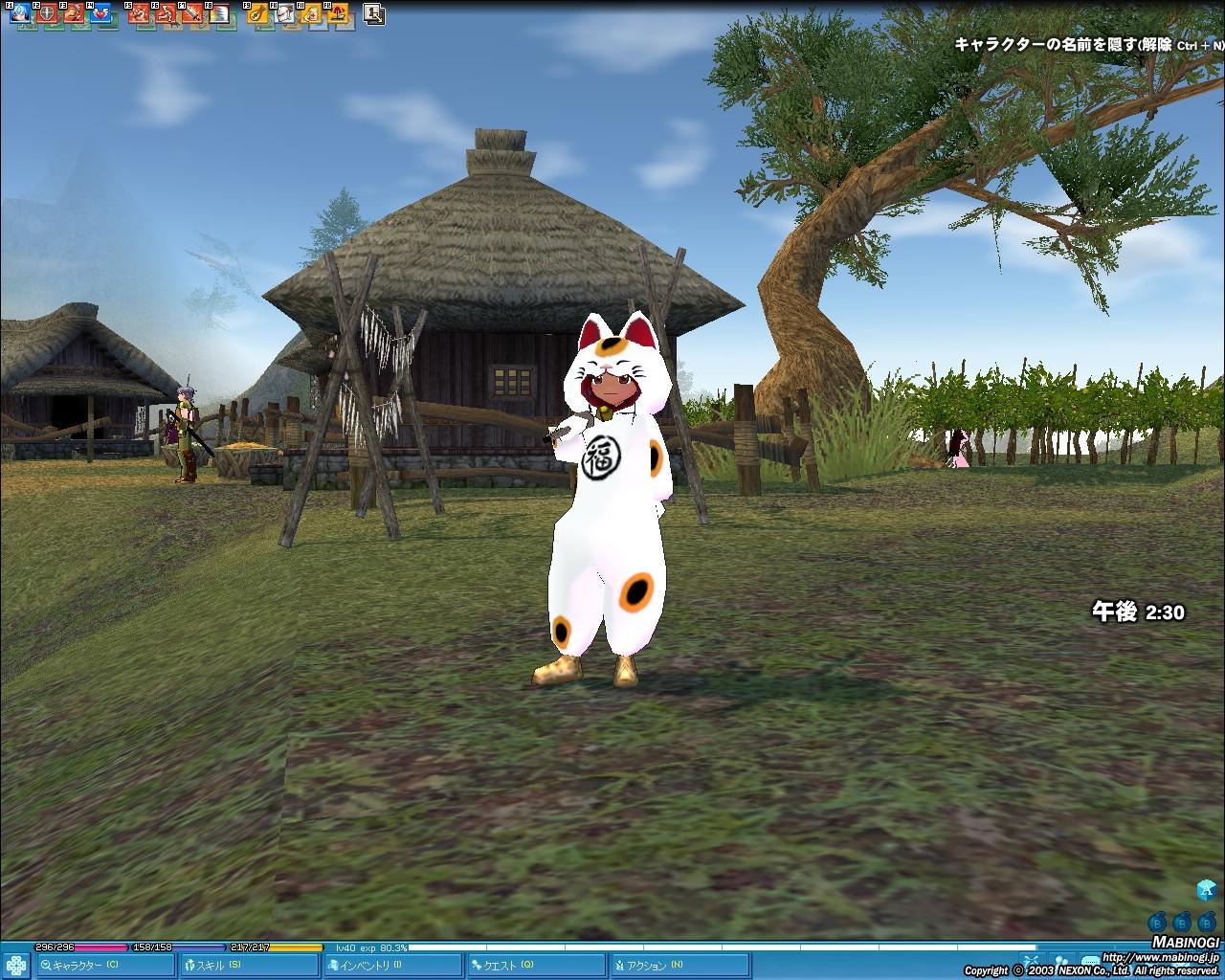 昔の日本を感じさせる猫島。キャラクターが着ているはクエストクリアの報酬である猫ローブだ