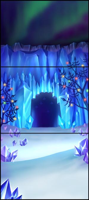 お菓子の王国、海の王国のサンゴ、植物の王国の夜桜、氷の王国の洞窟など、さまざまな景色が待っている。