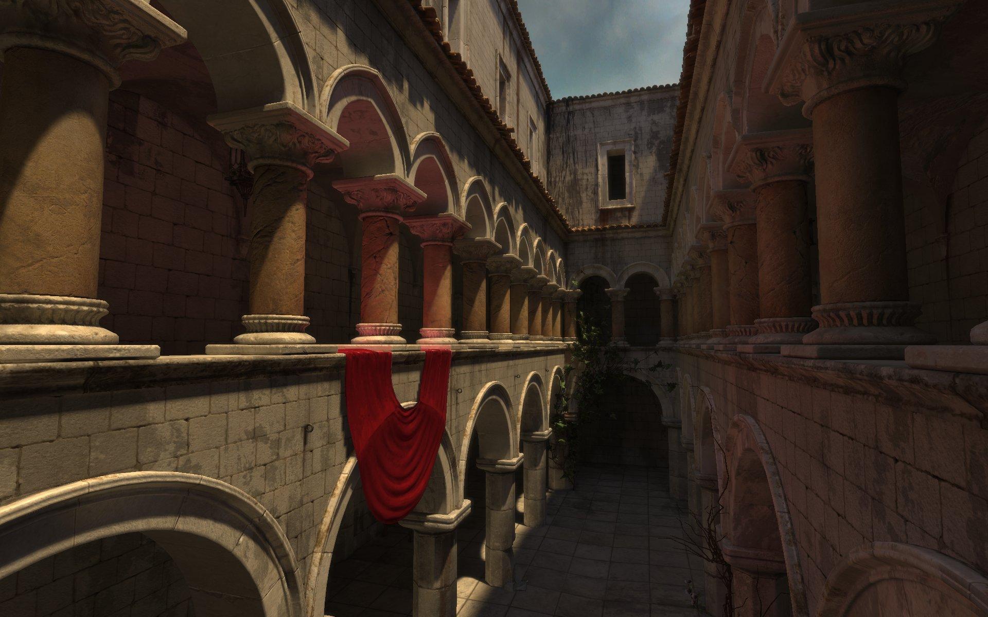 「UE3」もGIに対応。赤いカーテンの反射光が柱を赤く照らしている様に注目