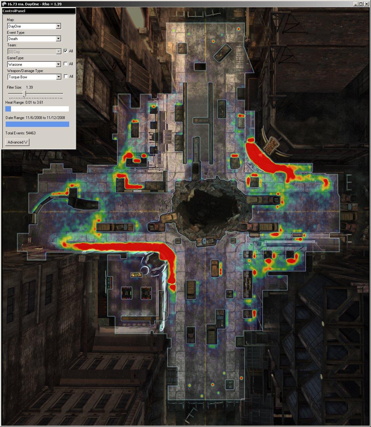マップ上で死亡率の高いところを赤く表示した図(ヒートマップ)。開発サイドとしては、こうした情報を、ゲームバランスの調整やマップの再設計に活用することになる