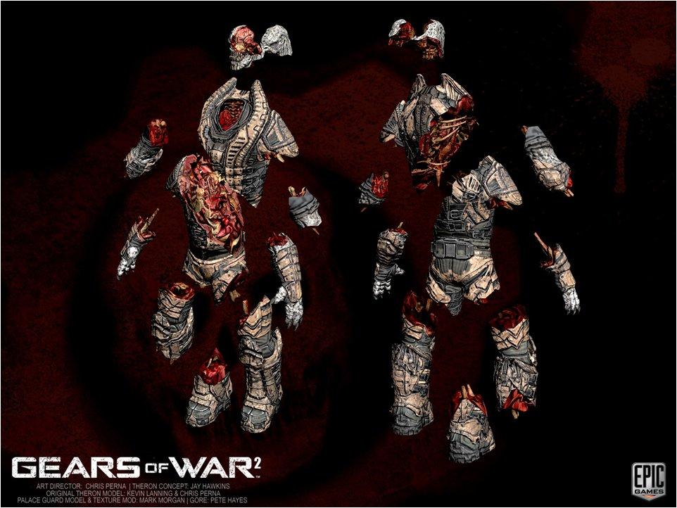 事前分断された人体。「GoW2」ではこの分解度で破損する