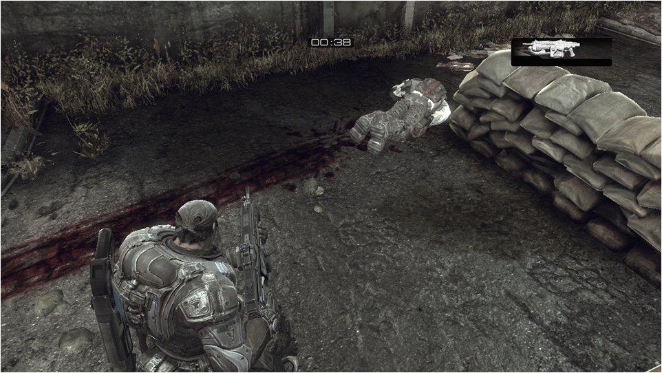 流血しながら這いずり回るとその軌跡が地面に絵筆のように描かれる