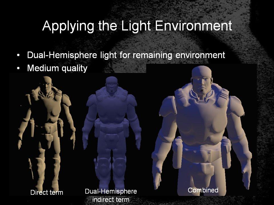 中程度のクオリティのライティングでは代表光源からのライティング以外に半球ライティングを行なうのみとする