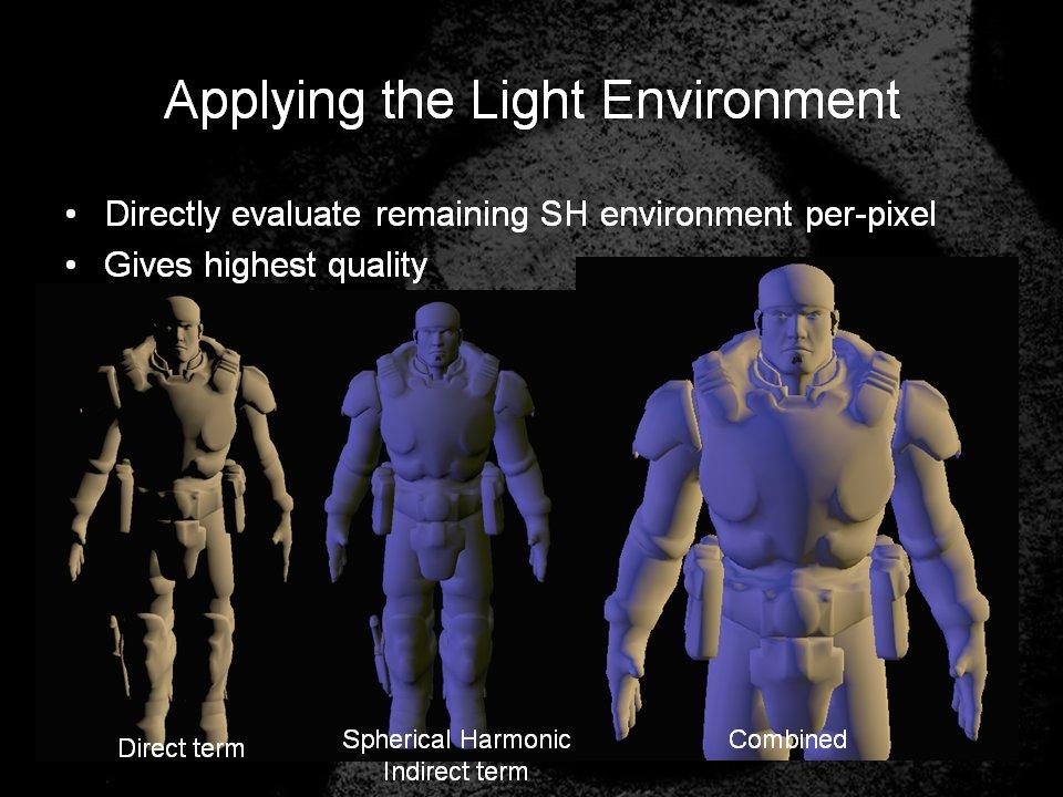 真ん中が球面調和関数による間接光のみライティング結果。一様同色になりがちだった前出の半球ライティングの結果と比べると、こちらの方は環境光の方向性が感じられる結果になっている