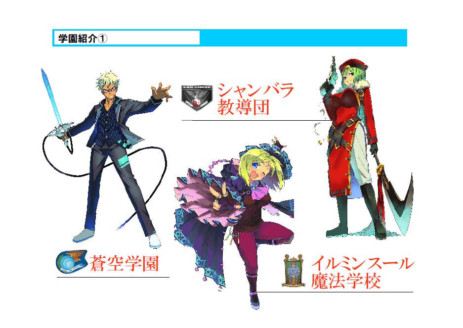 プレーヤーキャラクターは、ゲーム内に6つ設定された学校のいずれかひとつに所属する