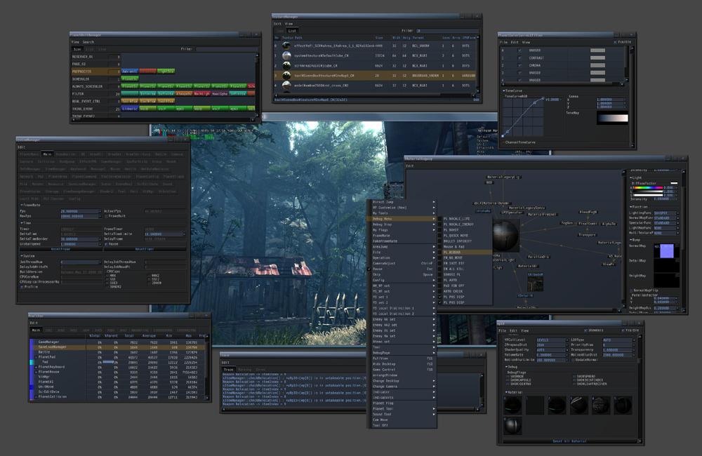 「MTFW2」開発画面の一例。各ウィンドウはメインウィンドウの外に出せるようになった