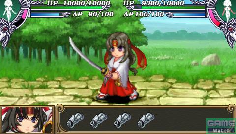 援護防御キャラクター(トモエ)がメインキャラクター(レイナ)の代わりにダメージを受け、その後レイナと場所が入れ替わり、反撃行動が開始される