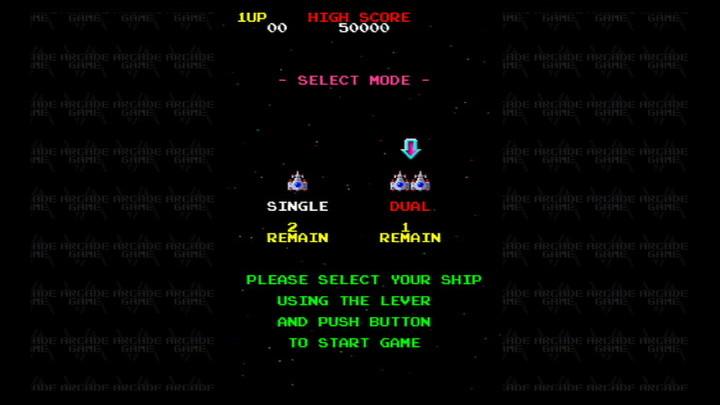 ゲーム開始時に、シングルかデュアルかを選択。デュアルで出撃すると、ファイターの残数が見た目上1機少なくなるが、気にする必要はない。めざせ、トリプルファイター!