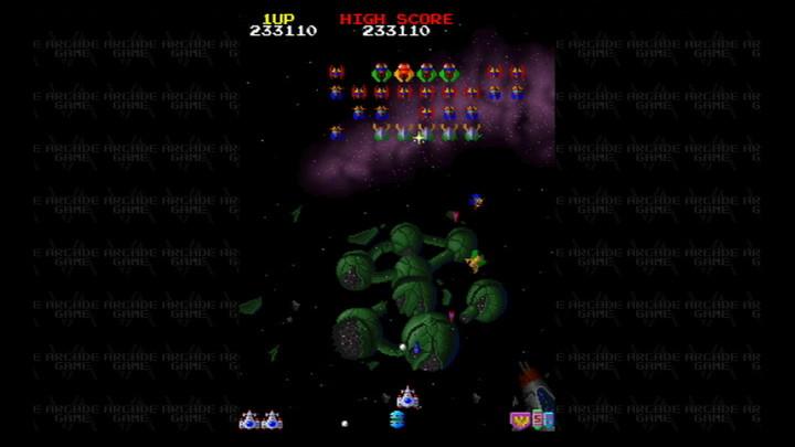 ディメンションによっていろいろなギャラガが出現するのは「ギャラガ'88」ならでは。ディメンション4に出てくるカンは、通常の姿の時はミサイルが通じない