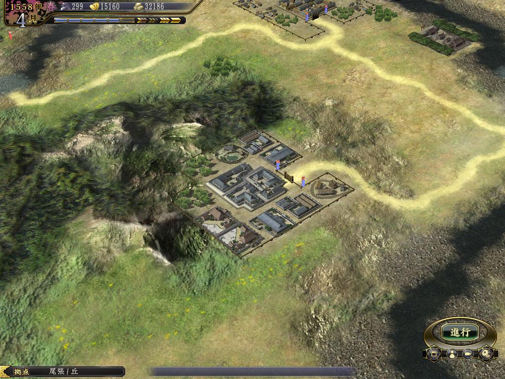 「武家町」では、兵力を増やす「兵舎」や、傷兵を回復させる「湯治場」などが建てられる