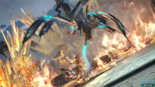 少女に飛竜のようなモンスターが上空から襲いかかる!