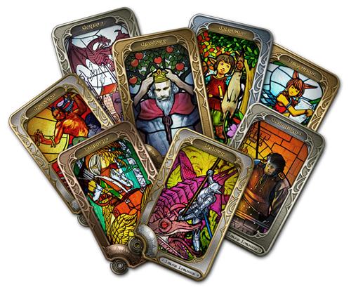 金属のフレームに「守護天」と呼ばれる「エオルゼア」の聖人と、その徳行をモチーフにしたステンドグラスがはめ込まれている