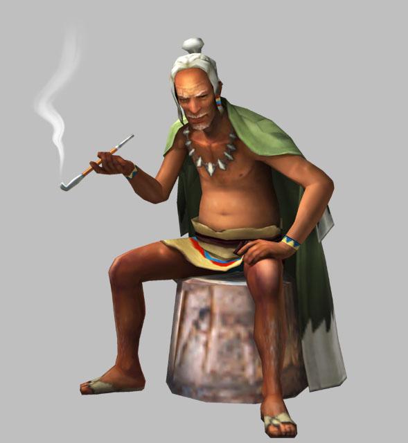 人間だけでなく、「竜人」や「海の民」などさまざまな種族の村人たちから慕われているモガの村のリーダー。村を襲う謎の地震の原因を探るために、ギルドを介してハンターを呼び寄せた