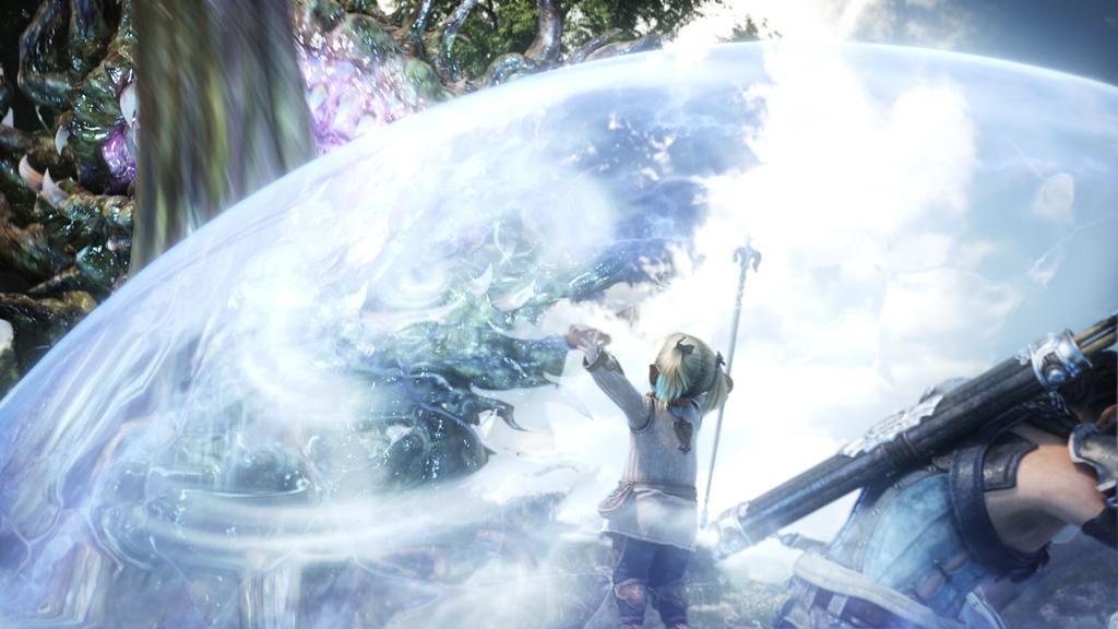 ララフェルの女の子が、バリアのようなものを張って、自分と仲間を攻撃から守っている