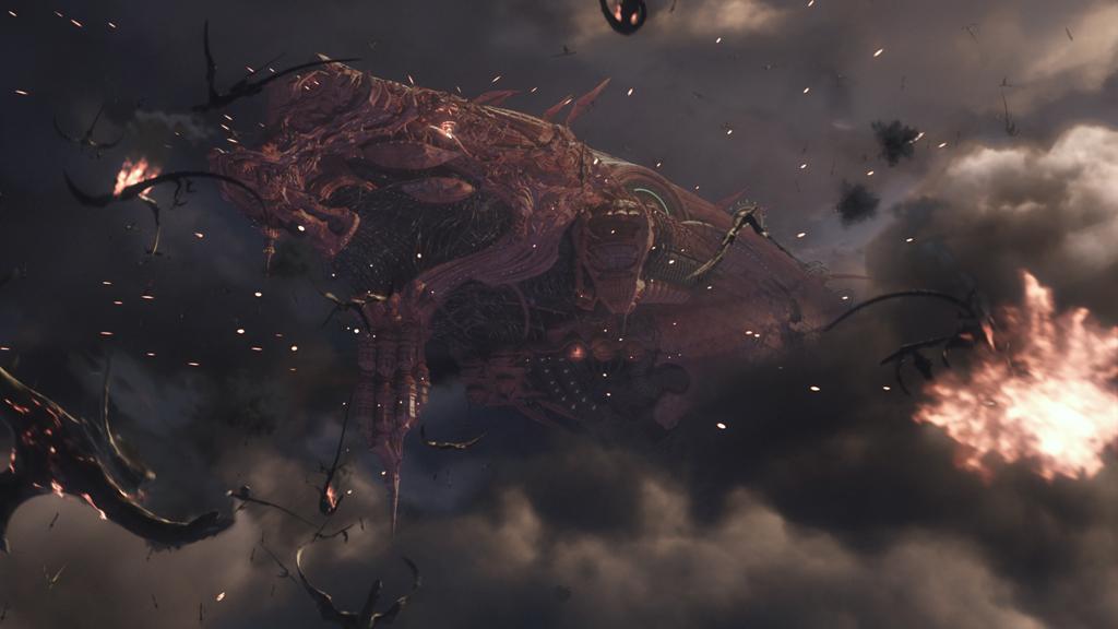 邪悪な形の巨大戦艦と、戦艦を取り巻くドラゴンの群れ