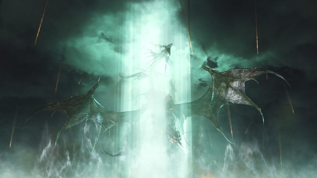 ドラゴンの背後に降り注いでいる炎の筋は、砲弾の軌跡か?