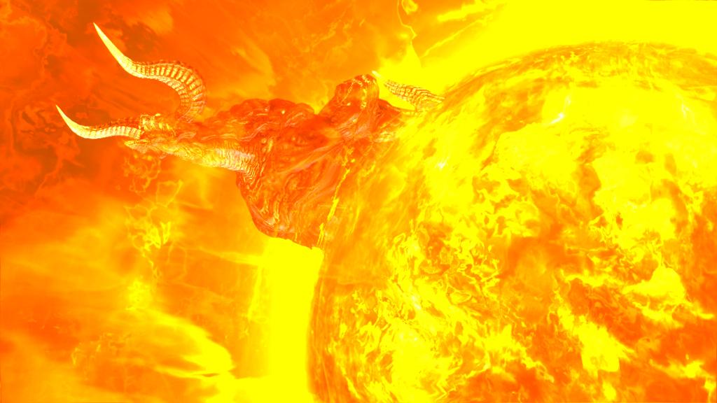 燃えさかる火球から姿を現すモンスターは、もしかすると召喚獣だろうか?
