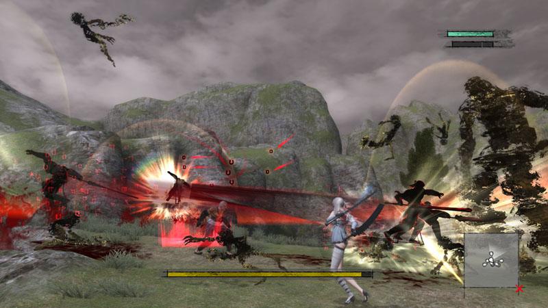 攻撃範囲内に入ったマモノに対して、ニーアの分身である「影」による高速攻撃を繰り出す。魔力を溜めてから放つと影の攻撃範囲と攻撃回数が増加する