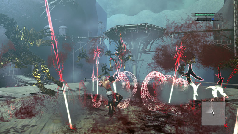魔法の槍を、地面から垂直に撃ち出してマモノを突き上げ串刺しにする。魔力を溜めることで、魔法の槍の本数が大幅に増える
