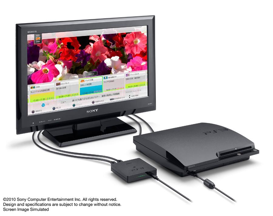 「torne(トルネ)」の商品画像。セットには地上波デジタルチューナーの他、PS3用ソフトウェア、B-CASカード、そしてコード類がパッケージングされている