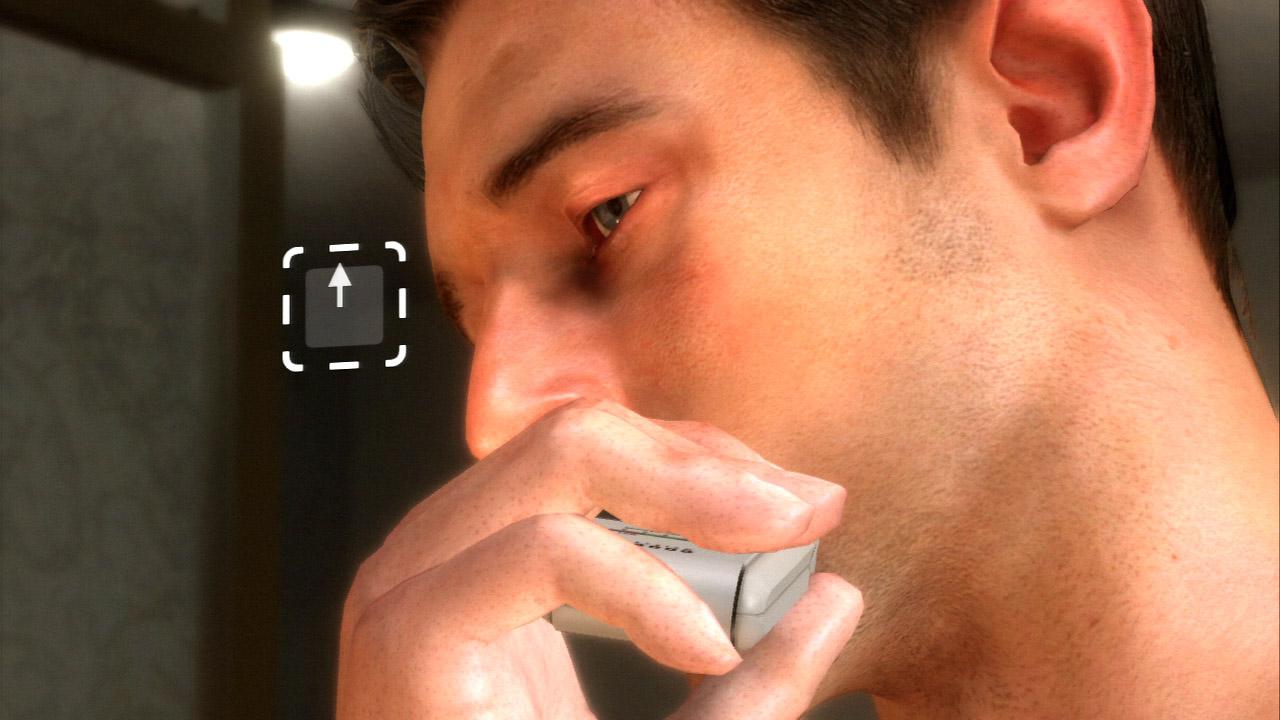 """電気シェーバーでヒゲを剃る。アイコンに従って""""ゆっくりと右アナログスティックを上に倒す""""という操作をする"""