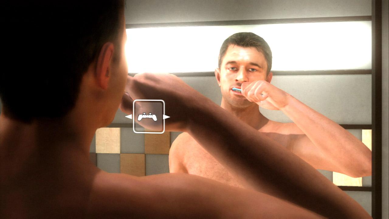画像の左は、コントローラー自体を横に振る操作で歯磨き中。こんな動きもプレーヤーにちゃんと操作させる。右はイーサンが仕事をしているところで、定規と紙をしっかりと押さえながら線を引くという動きを3ステップの操作で行なっている