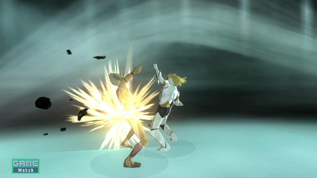 戦闘シーンが発生。スクリーンショットを見た限りでは格闘ゲームのようにも見えるのだが……?シンプルなボタン操作で多彩なアクションを目指して制作が進められているという。派手な画面効果と共に様々なアクションが可能となっている。敵の鎧が壊れていっているようだが、鎧が壊れた部位を攻撃するとより効果的だったりするのだろうか??