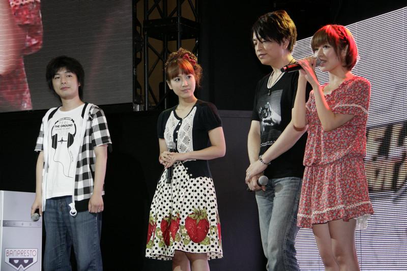 左から宇田 歩プロデューサー、池澤春菜さん、緑川 光さん、相沢 舞さん