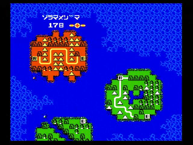 戦場選択画面では、順番に関係なく、遊びたい戦場を自由に選択できる。既に勝利した戦場には、勝利までにかかったターン数(日数)とともに勲章が表示される