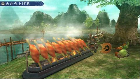 様々な素材が手に入る「ユクモ農場」。こちらにも便利かつユニークな要素がたくさんある。画像は上が肉や魚を最大10個まとめて焼ける「10連よろず焼き」、下は「オトモアイルー」たちだけで専用クエストに出発する「モンニャン隊」だ。モンニャン隊はクエストに連れていく2匹とは別になる。思いがけず良い素材を採ってくることもある