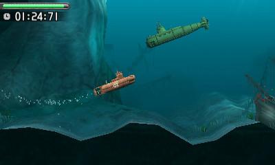下画面中央の赤いボタンと横にある四角いボタンが魚雷発射ボタン。その右にあるのが深度レバーで潜行したり浮上したりを制御する。下画面下にあるのが出力レバーで、前進/後退の操作を行なう