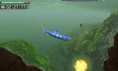 海上から次々に投下される爆雷を出力と深度をコントロールして避けつつ目的地を目指す
