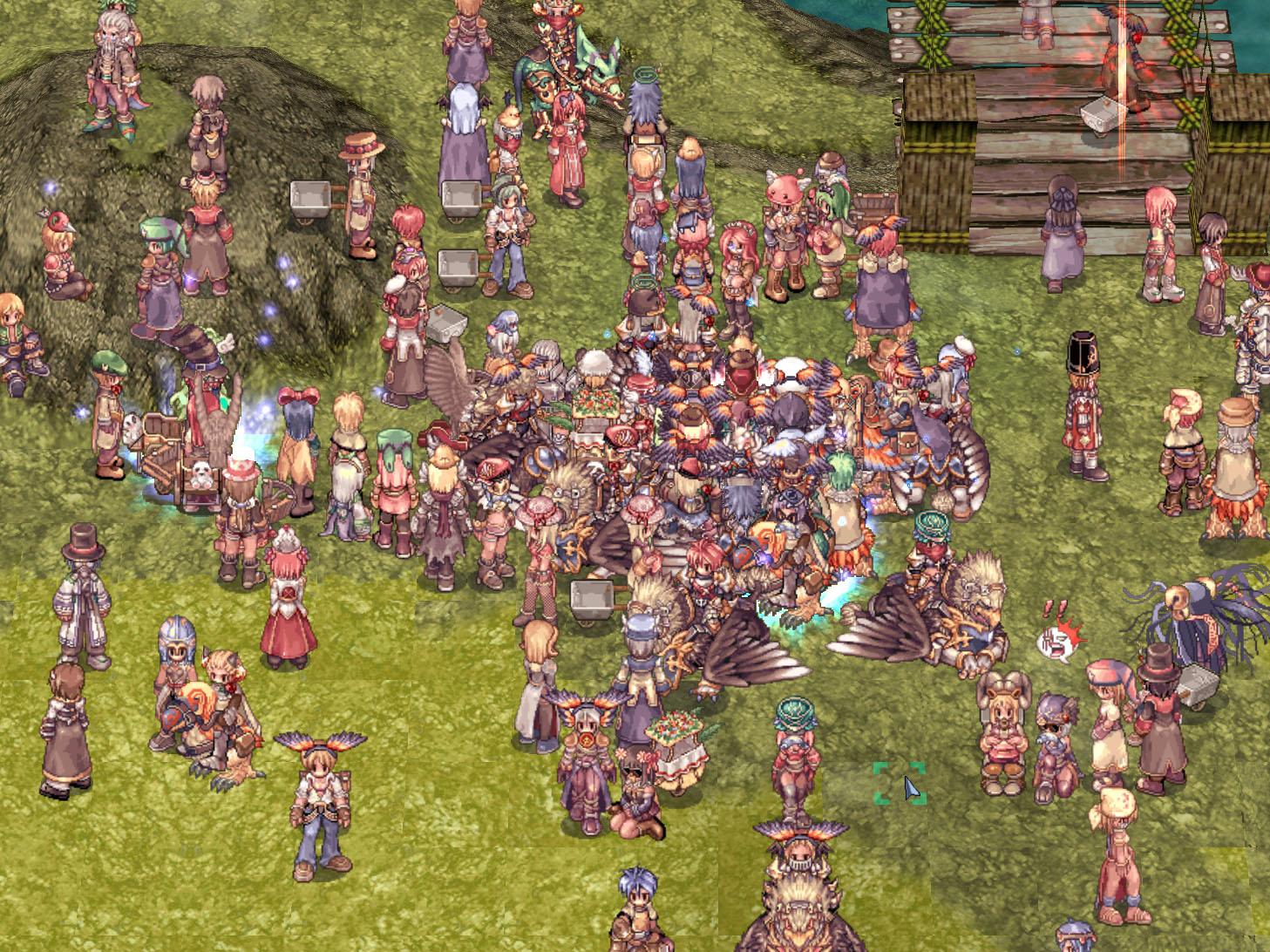 イベントでは、たくさんのキャラクターが集まり、エモーションでアピールする。戦闘では、エフェクトが重なる。この情報量の多さは「ラグナロクオンライン」の特徴だ