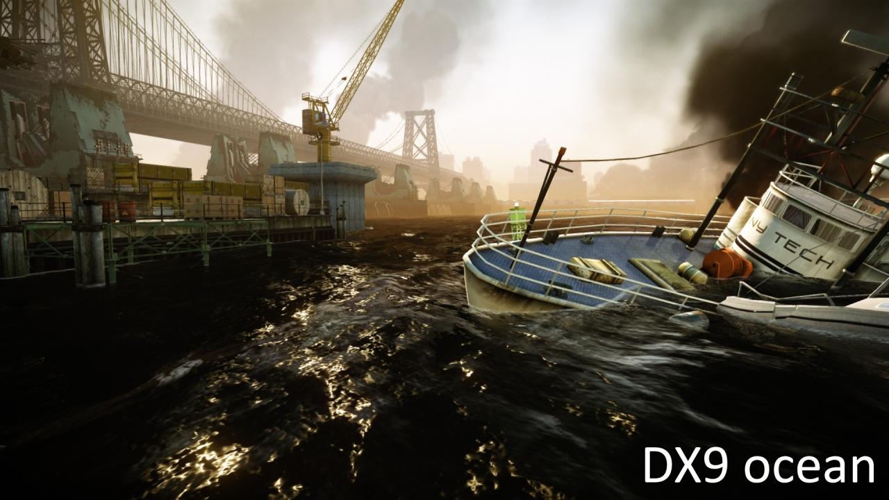 従来の水面とDirectX 11版の水面の比較映像