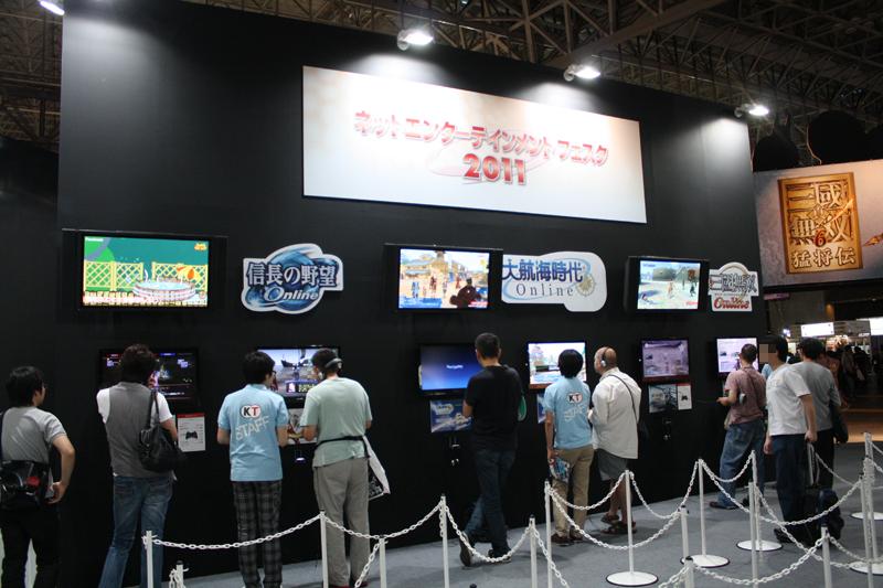 オンラインゲームの試遊台。それぞれ5分程度の試遊ができた