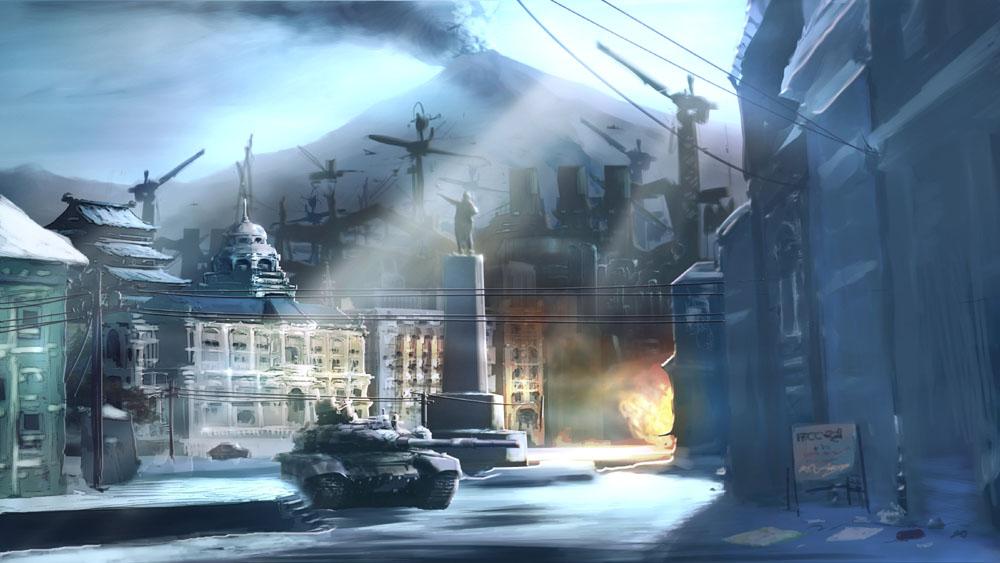 E3 2010の発表時に公開されたイメージイラスト。ケスラーシンドロームによって機能を失った世界が描かれている
