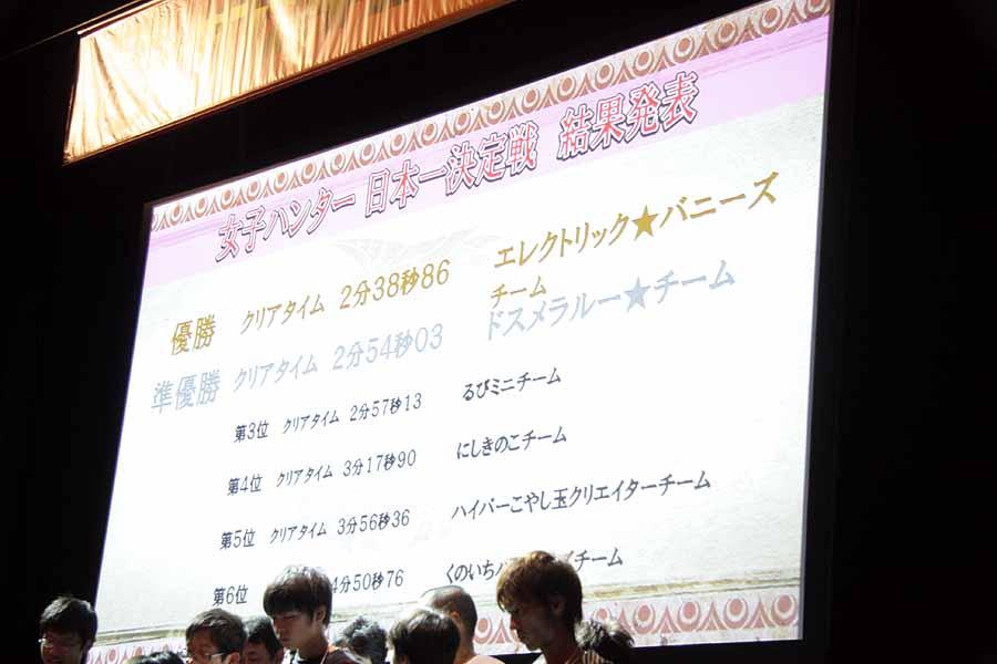 「女子ハンター日本一決定戦」と「親子ハンター日本一決定戦」。「女子ハンター日本一決定戦」で、「エレクトリック★バニーズ」のスラッシュアックスによる猛攻が特に注目を集めていた