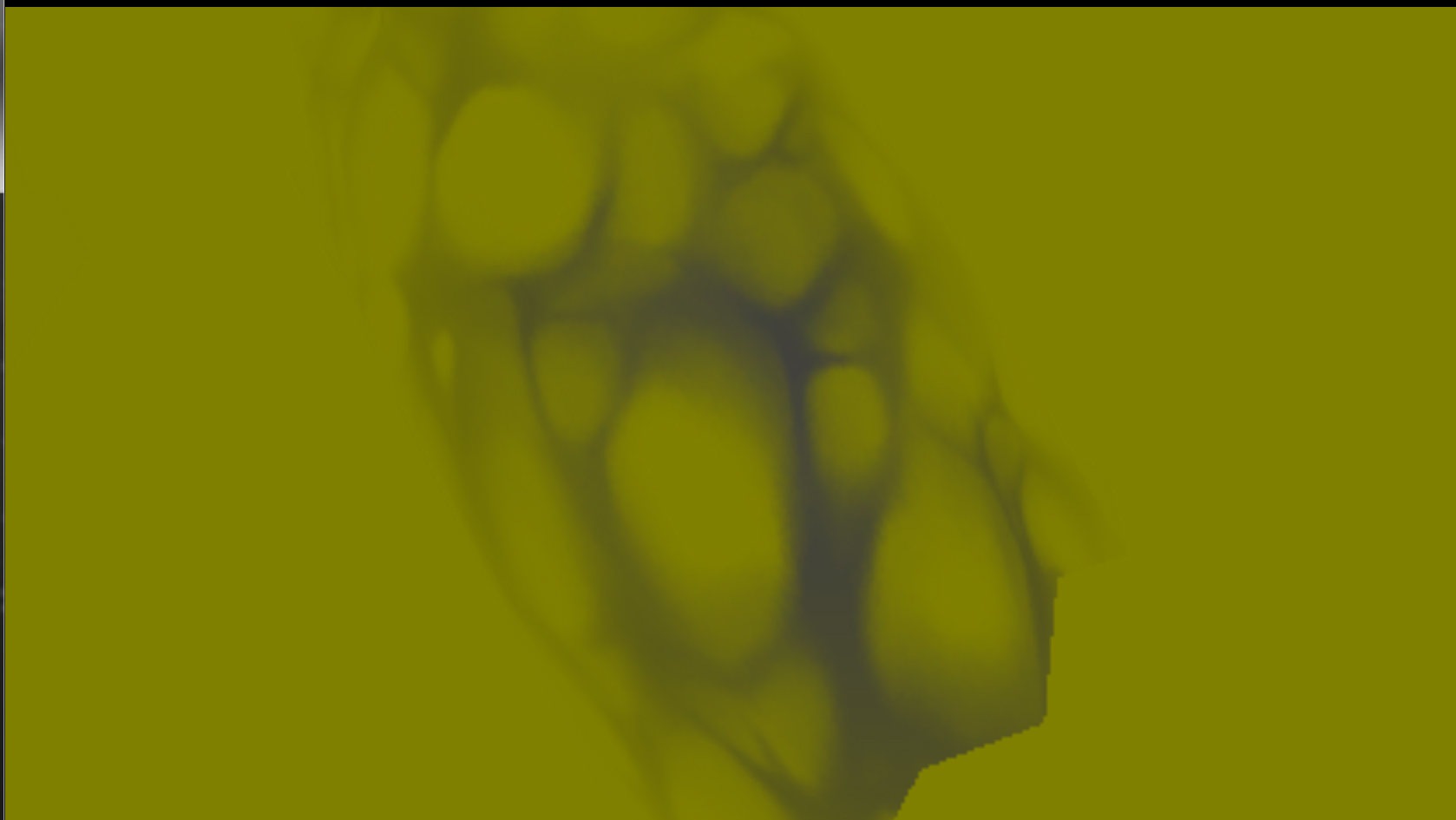 オーラのパーティクルの模様形状の速度情報をベロシティバッファに書き込むことでモーションブラーの処理フェーズで交換歪み表現を行なわせている