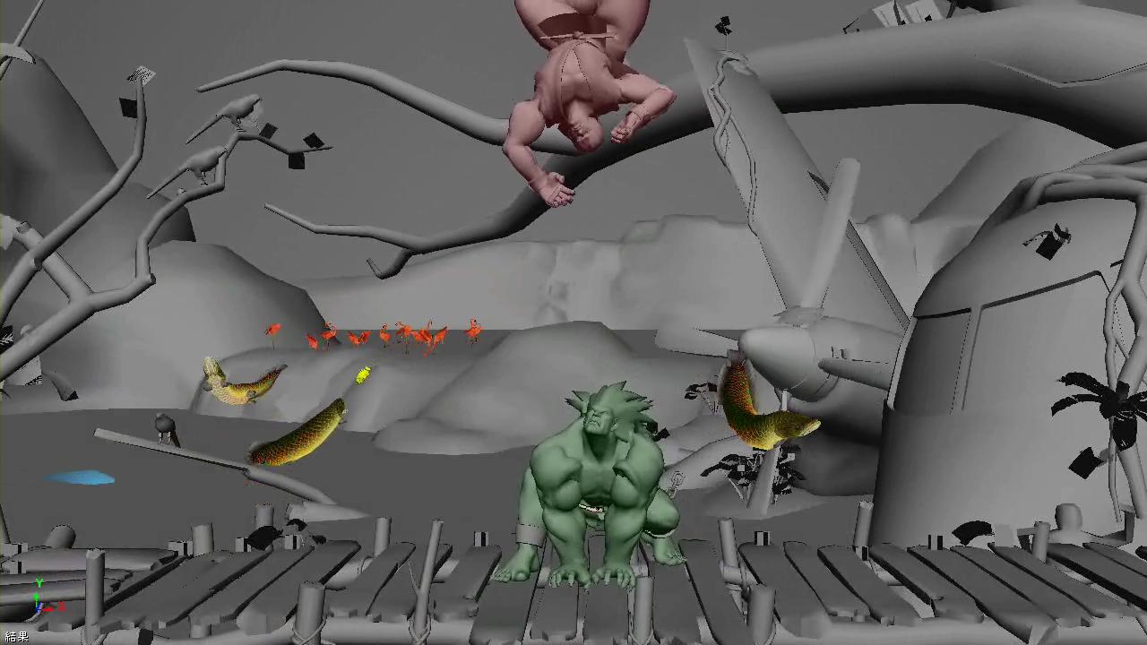 プロトタイプとして製作された背景との相互干渉演出フィニッシュのコンセプトビジュアル。もともとは動画で門外不出のものということだが、カプコンの厚意で静止画での掲載を許可してくれた