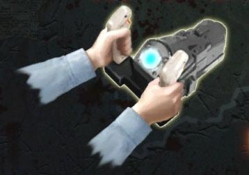 銃のグリップ部を握ることで心拍を検知してくれる。両手で握らないと検知されず、注意のメッセージが画面に表示される