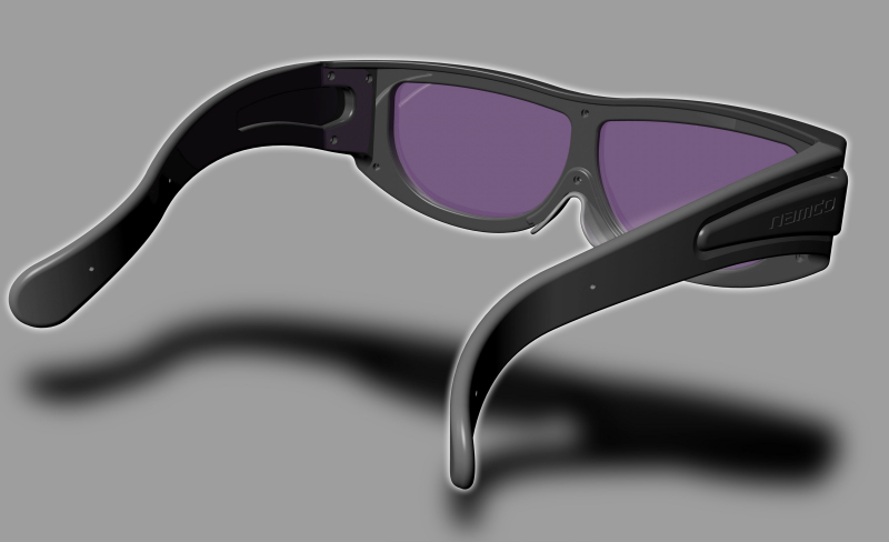 3DメガネのイメージCG。大きめに作られており、メガネの上からでも装着できる
