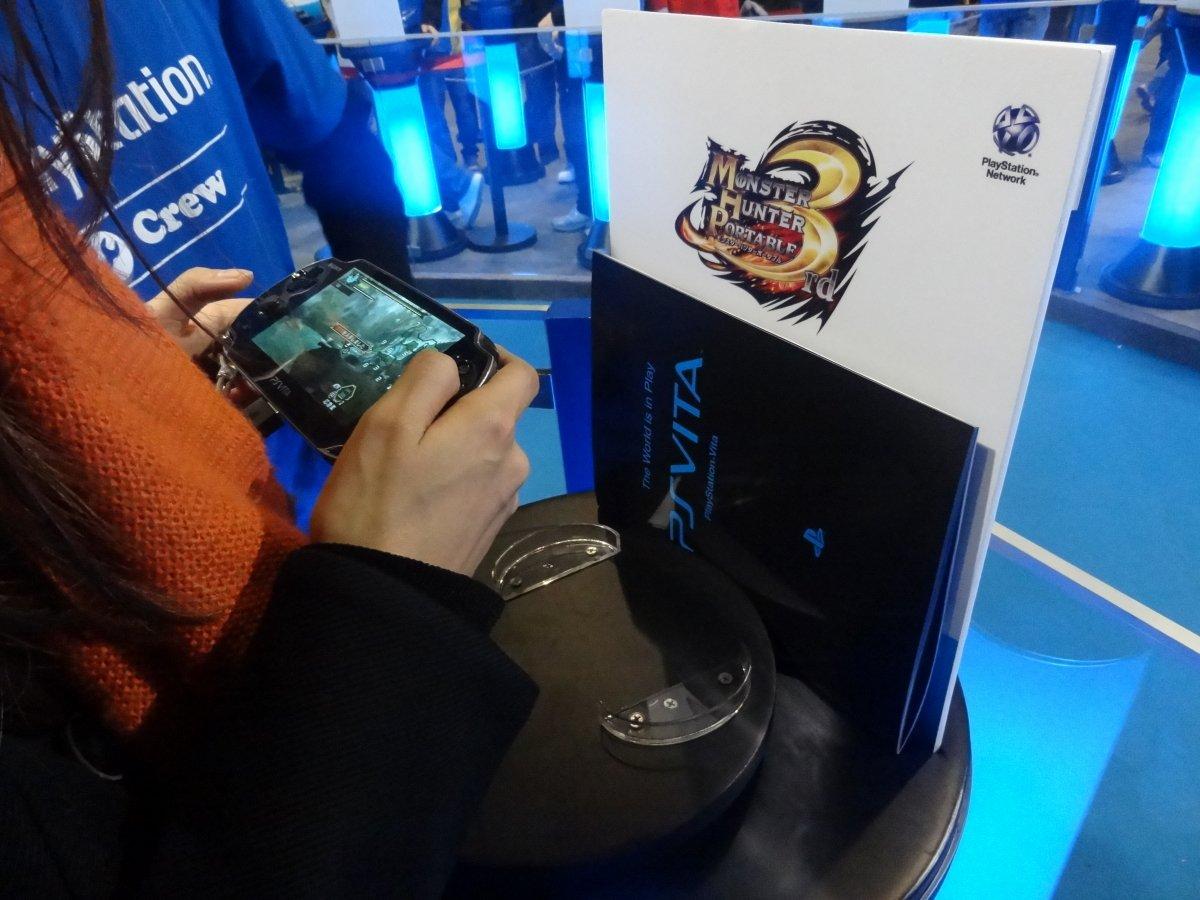 今回のAsia Game ShowではPSPタイトルの出展はなし。その代わり、「モンスターハンターポータブル3rd」や「ファイナルファンタジー零式」などがPS Vita向けダウンロードタイトルとして出展されており、グラフィックスや操作性の向上をアピールしていた